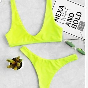 Really cute neon green swimming suit